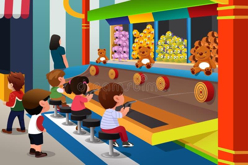 Niños que juegan en juegos del carnaval libre illustration
