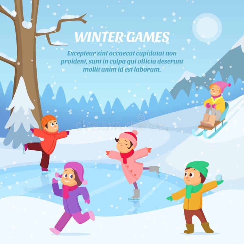 Niños que juegan en juegos del invierno en patio Al aire libre ejemplo de la historieta stock de ilustración