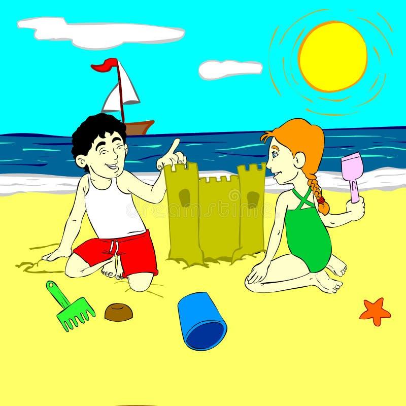 Niños que juegan en la arena imágenes de archivo libres de regalías