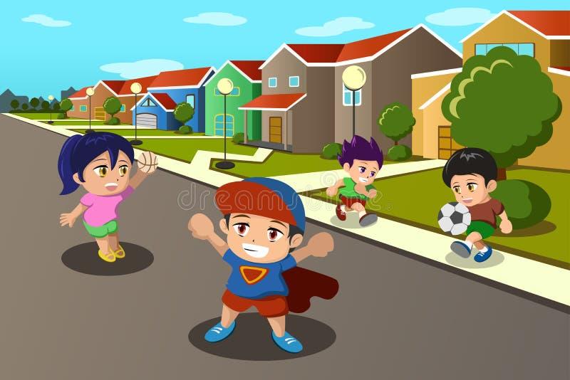 Niños que juegan en la calle de una vecindad suburbana stock de ilustración