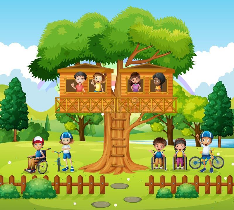 Niños que juegan en la casa del árbol en el parque stock de ilustración