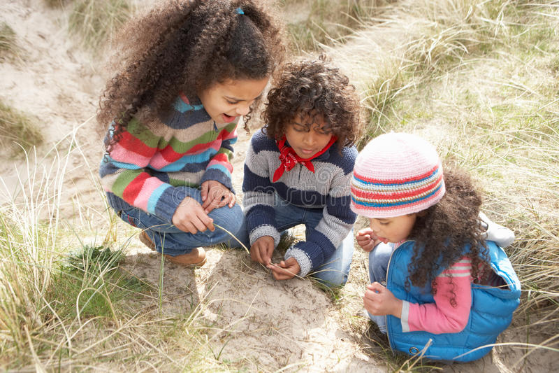 Niños que juegan en la playa del invierno imágenes de archivo libres de regalías