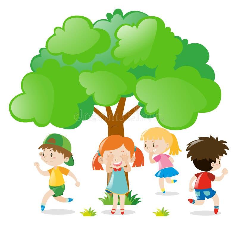 Niños que juegan escondite en el parque stock de ilustración