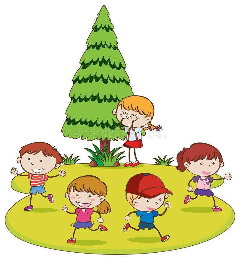 Niños que juegan escondite en parque ilustración del vector