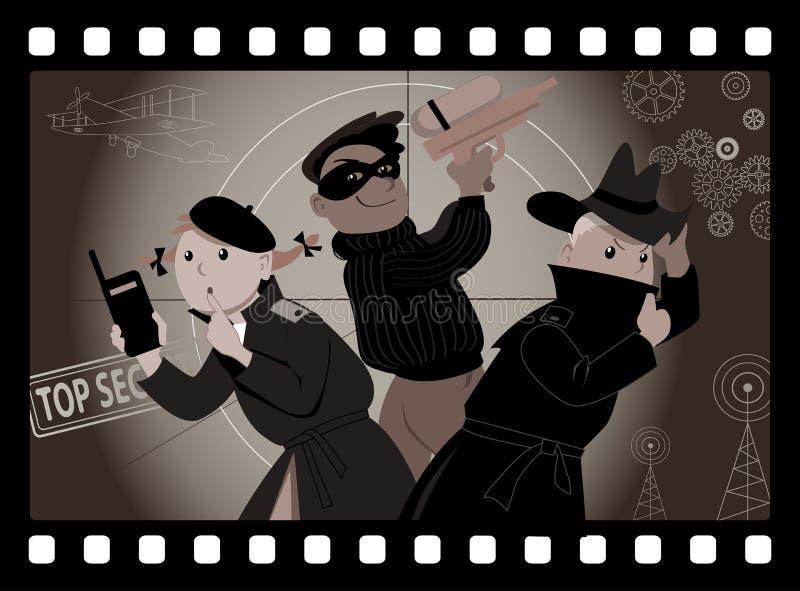 Niños que juegan a espías ilustración del vector