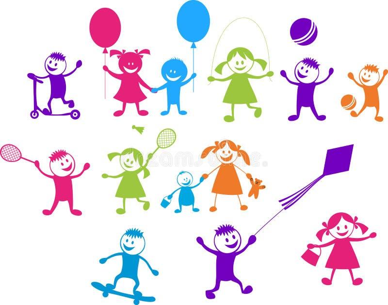Niños que juegan felices ilustración del vector