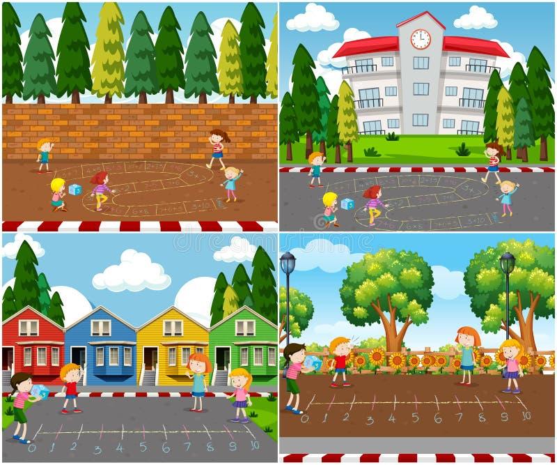 Niños que juegan a juegos al aire libre de la matemáticas ilustración del vector