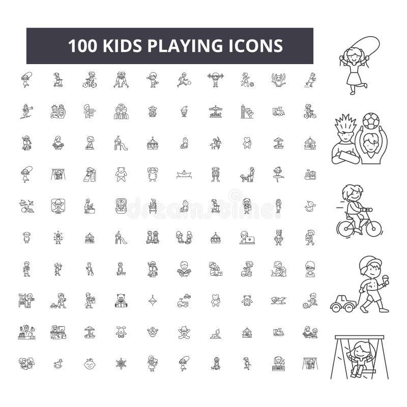 Niños que juegan la línea editable iconos, sistema de 100 vectores, colección Niños que juegan los ejemplos negros del esquema, m stock de ilustración