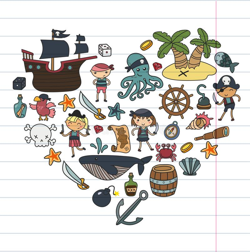 Niños que juegan los muchachos y a las muchachas guardería, escuela, preescolar, isla del tesoro del partido de Halloween, barco  ilustración del vector