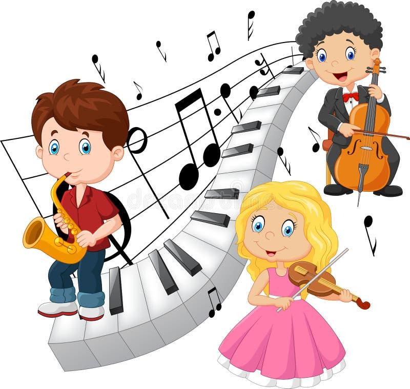Niños que juegan música con el fondo del tono del piano stock de ilustración
