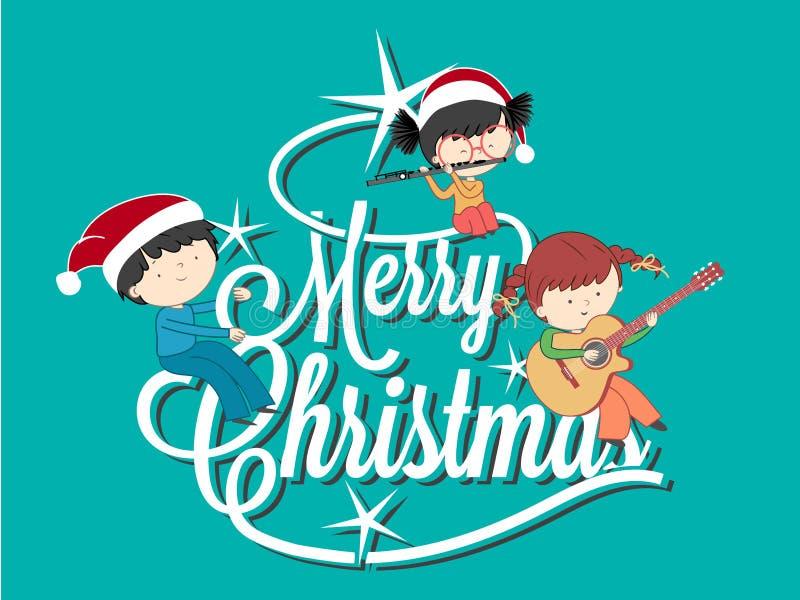 Niños que juegan música en el feliz árbol de navidad libre illustration