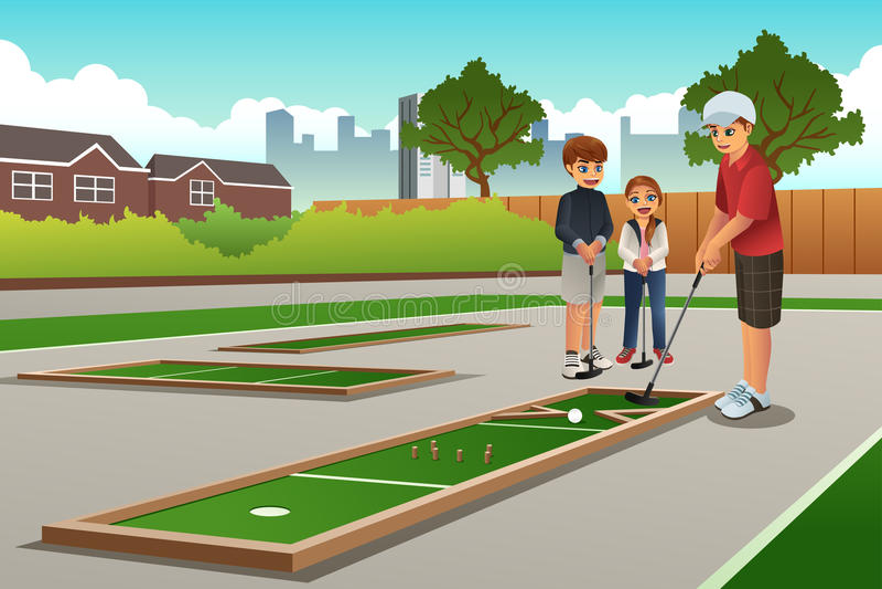 Niños que juegan a Mini Golf ilustración del vector