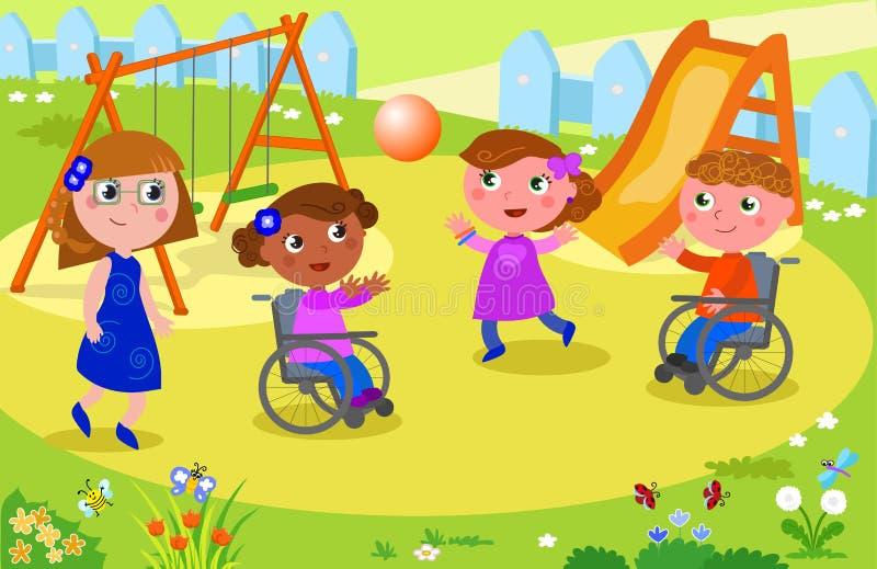 Niños que juegan a voleibol con los niños en la silla de ruedas stock de ilustración
