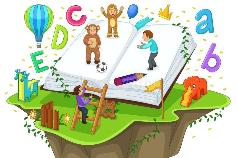 Niños que juegan y que leen libre illustration