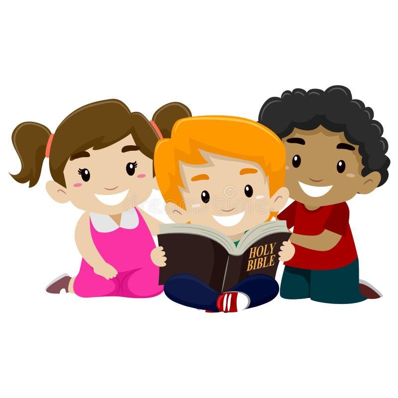 Niños que leen la biblia ilustración del vector