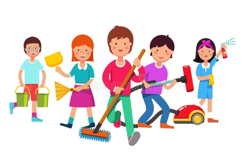 Niños que limpian al equipo que hace tareas de hogar stock de ilustración