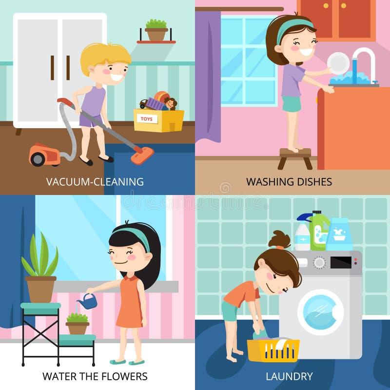 Niños que limpian concepto de diseño 2x2 ilustración del vector
