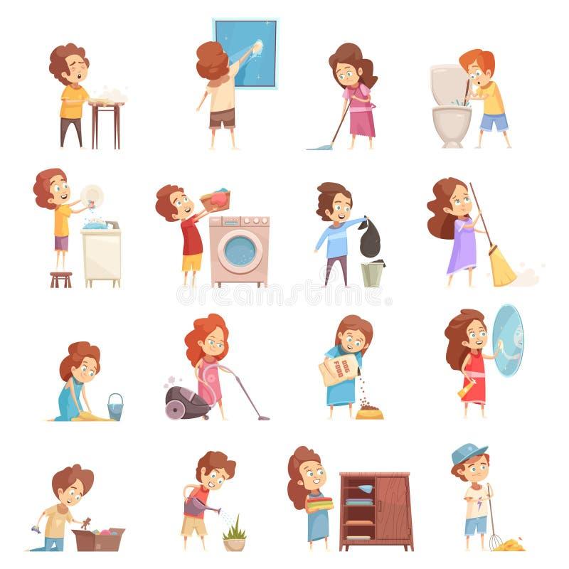 Niños que limpian los iconos de la historieta fijados ilustración del vector