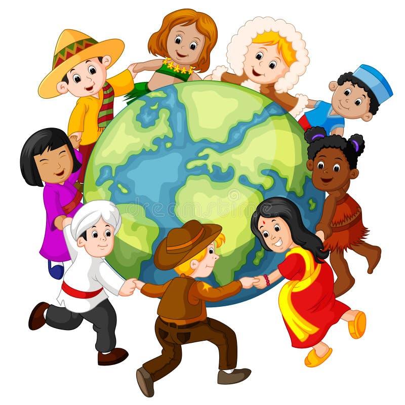 Niños que llevan a cabo las manos en todo el mundo ilustración del vector