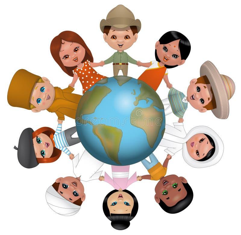 Niños que llevan a cabo las manos en todo el mundo libre illustration