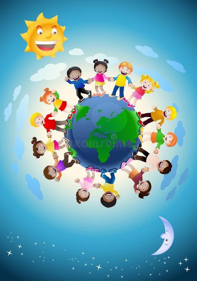 Niños que llevan a cabo las manos que rodean el globo stock de ilustración