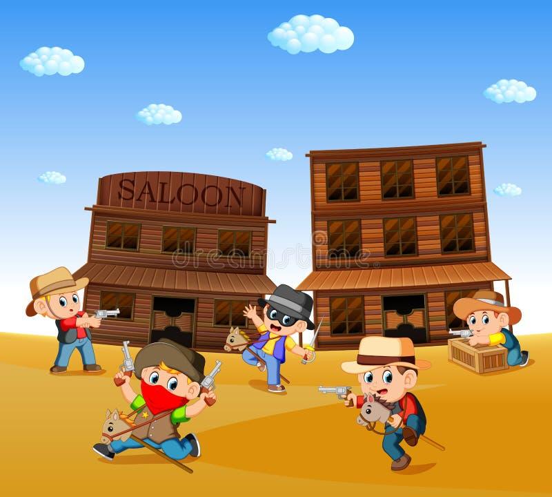 Niños que llevan el traje del vaquero y que juegan con el fondo occidental de la ciudad stock de ilustración