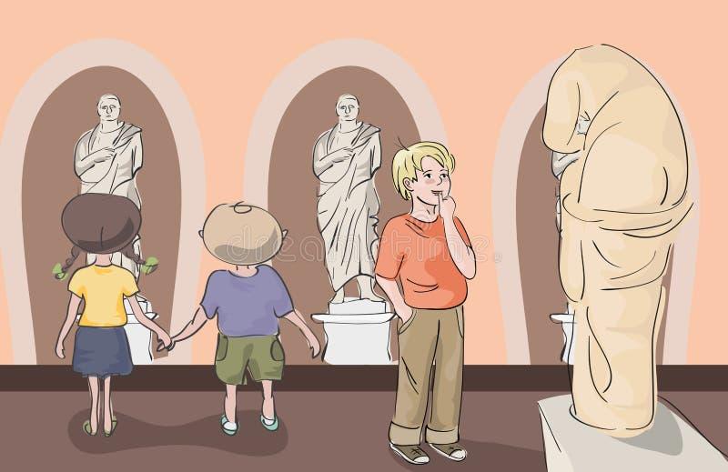 Niños que miran las estatuas antiguas el museo ilustración del vector