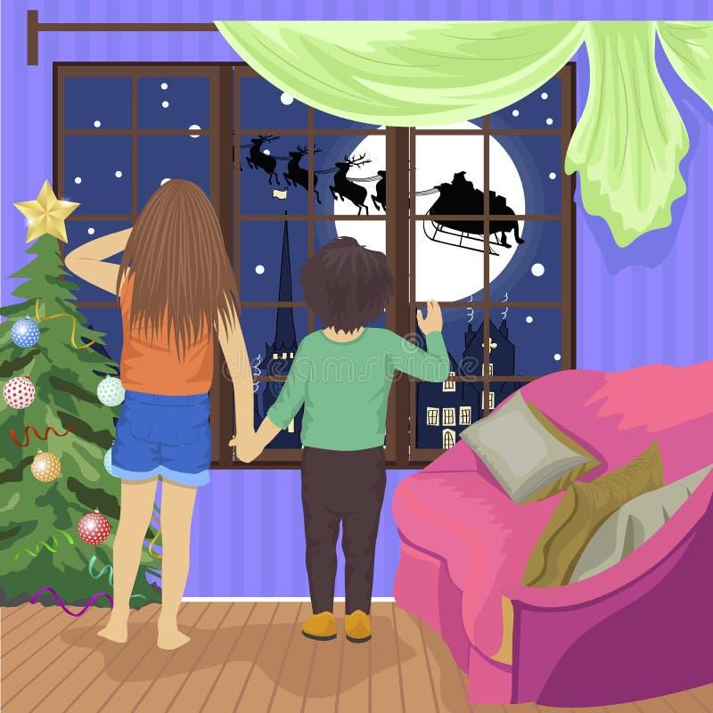 Niños que miran Papá Noel y su reno en vuelo el noche de la Navidad stock de ilustración