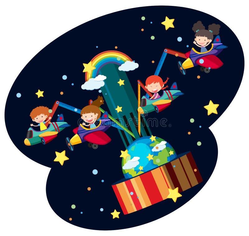 Niños que montan el avión en el parque de la diversión stock de ilustración