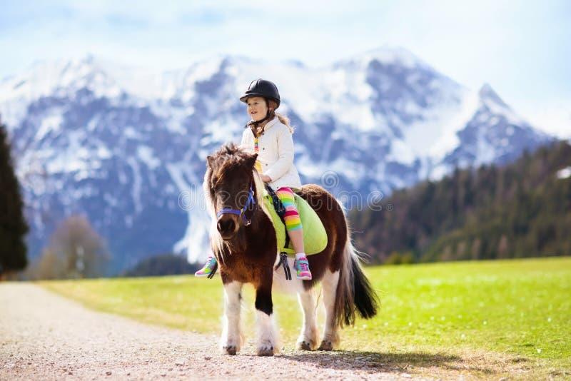 Niños que montan el potro Niño en caballo en montañas de las montañas imagenes de archivo