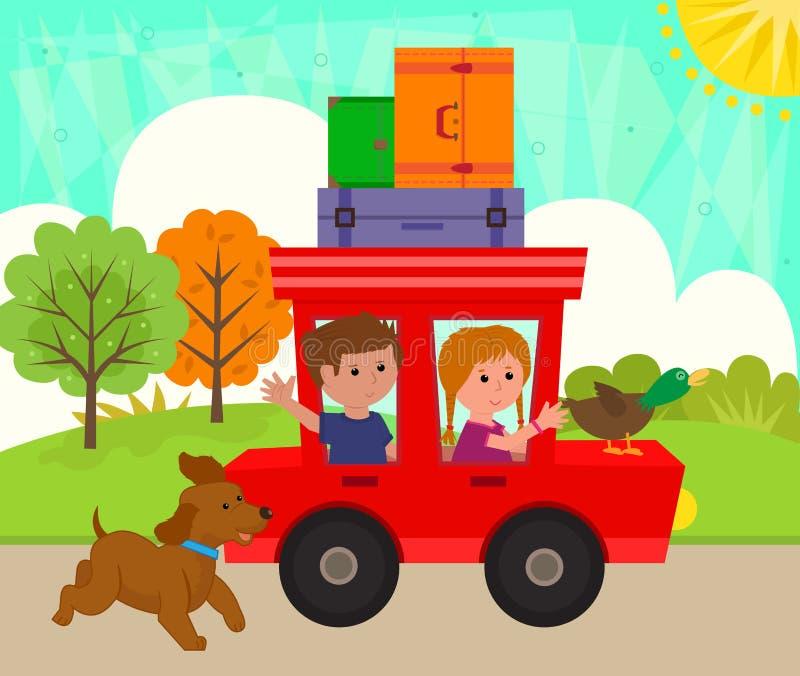 Niños que montan un coche stock de ilustración