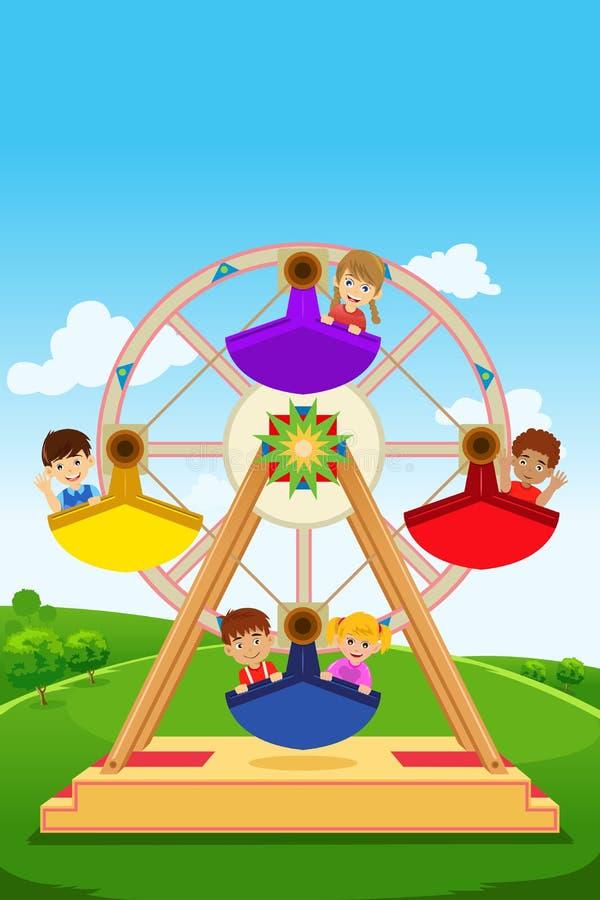 Niños que montan una noria ilustración del vector