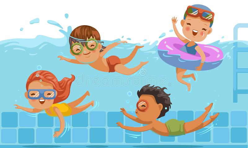 Niños que nadan stock de ilustración