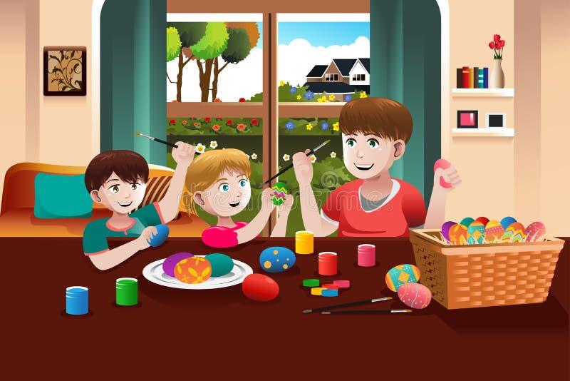 Niños que pintan los huevos de Pascua stock de ilustración
