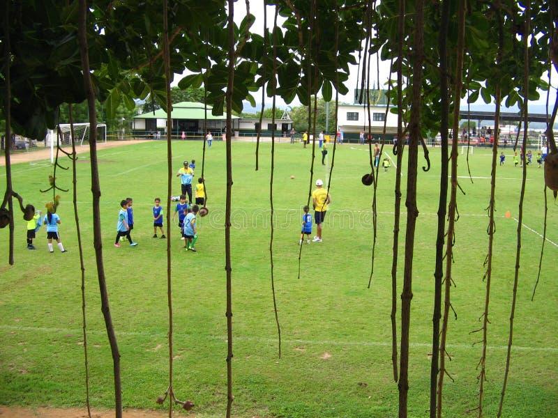 Niños que practican fútbol en una corte en la ciudad de Puerto Ordaz, Venezuela imagen de archivo libre de regalías
