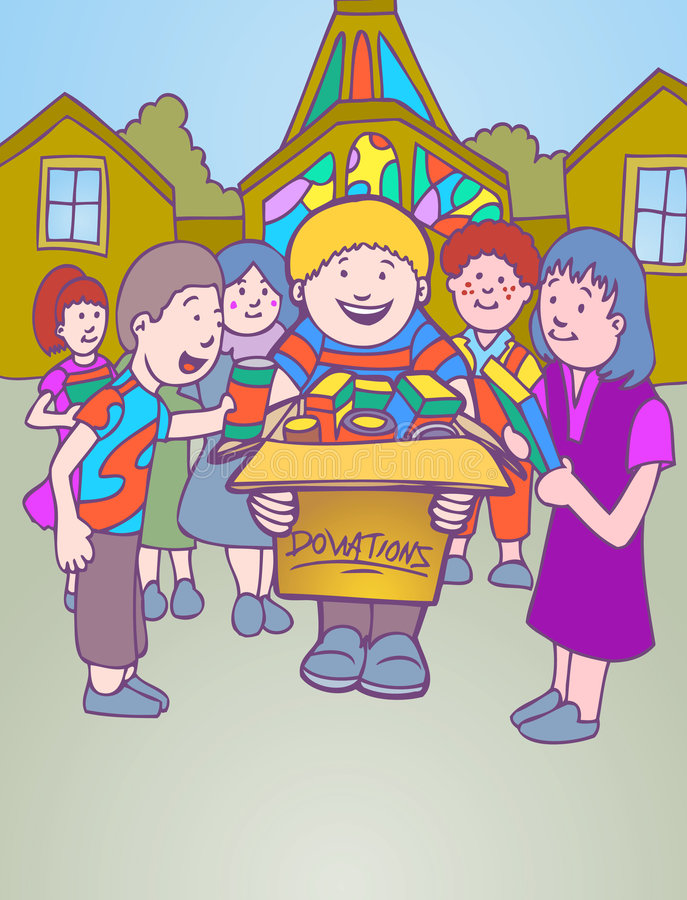 Niños que recogen las donaciones para la iglesia libre illustration