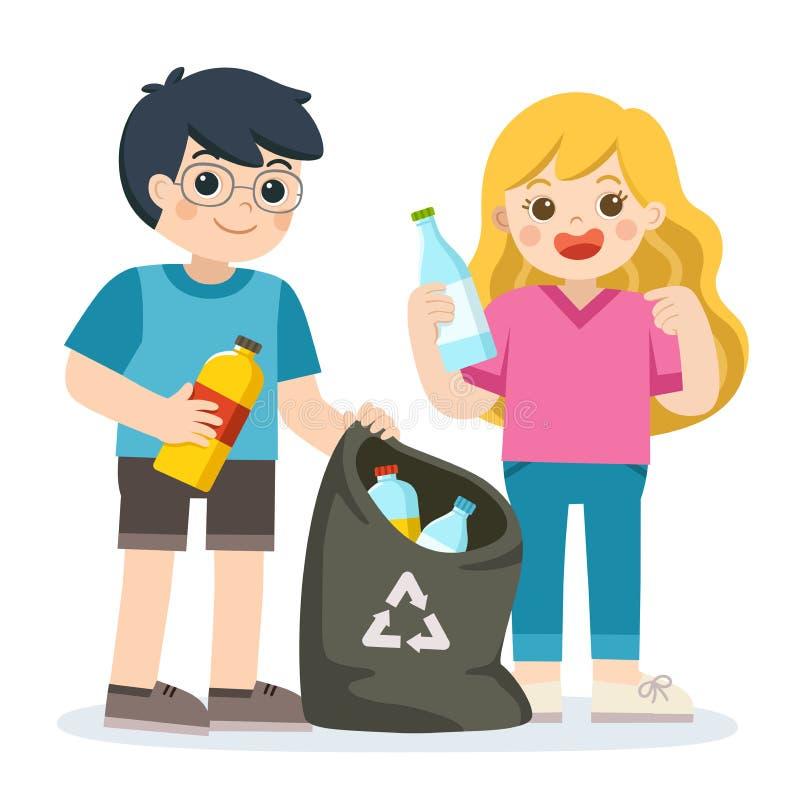 Niños que recolectan las botellas plásticas para reciclar Reciclaje de residuos libre illustration