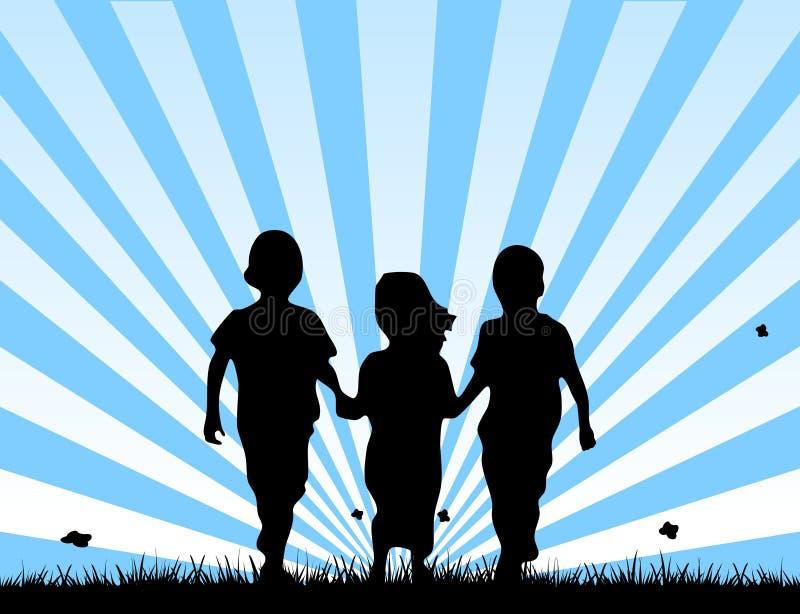 Niños que recorren en un campo ilustración del vector