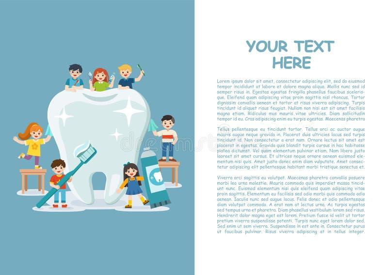 Niños que se colocan al lado del diente blanco grande stock de ilustración