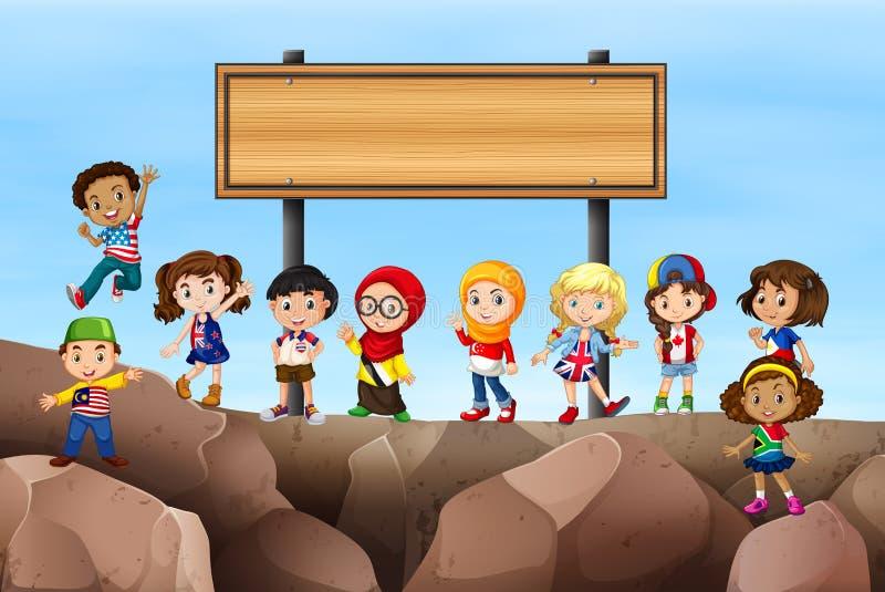 Niños que se colocan bajo muestra libre illustration
