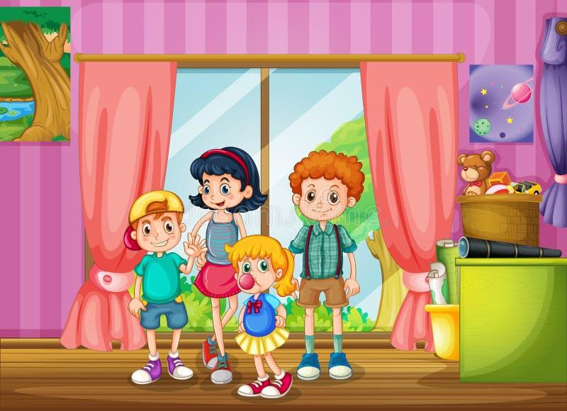 Niños que se colocan en el cuarto ilustración del vector