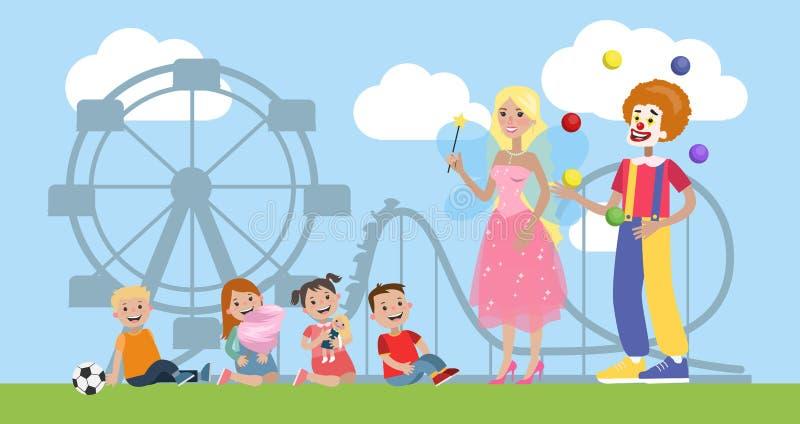 Niños que se divierten con el payaso y la hada libre illustration