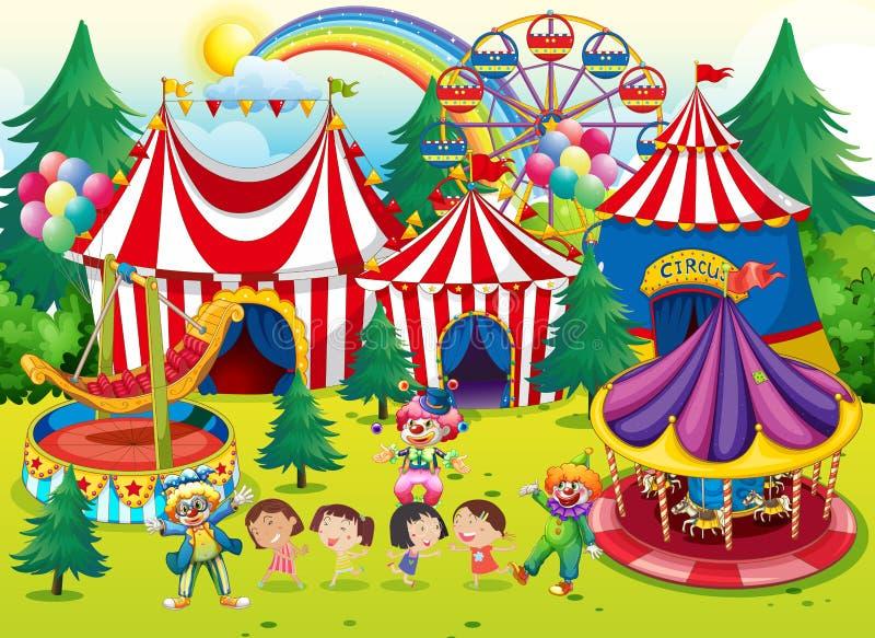 Niños que se divierten en el circo stock de ilustración