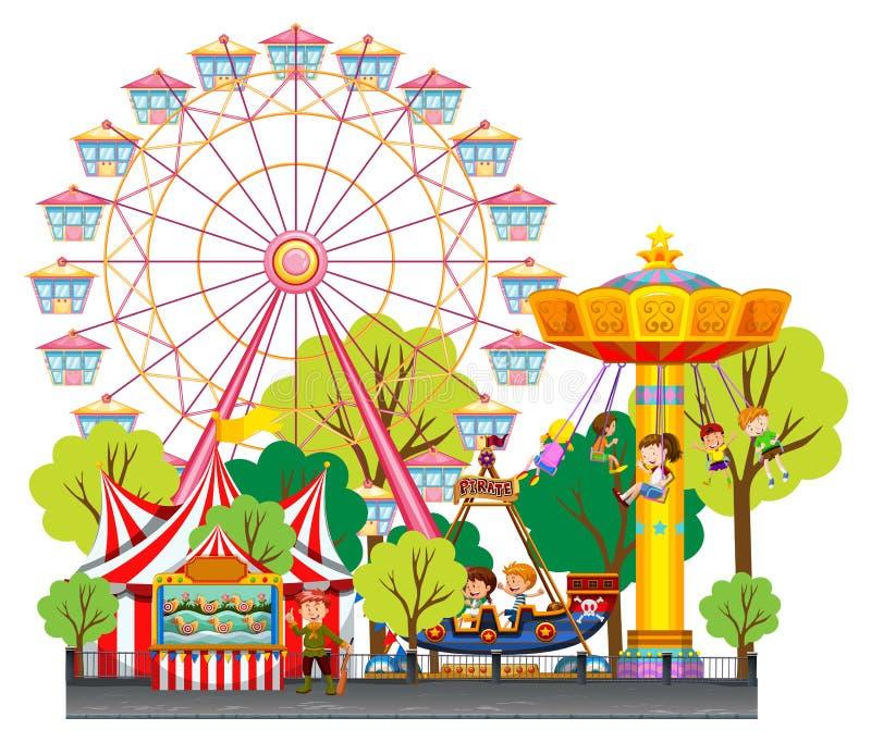 Niños que se divierten en el circo libre illustration
