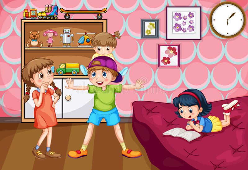 Niños que se divierten en el dormitorio ilustración del vector