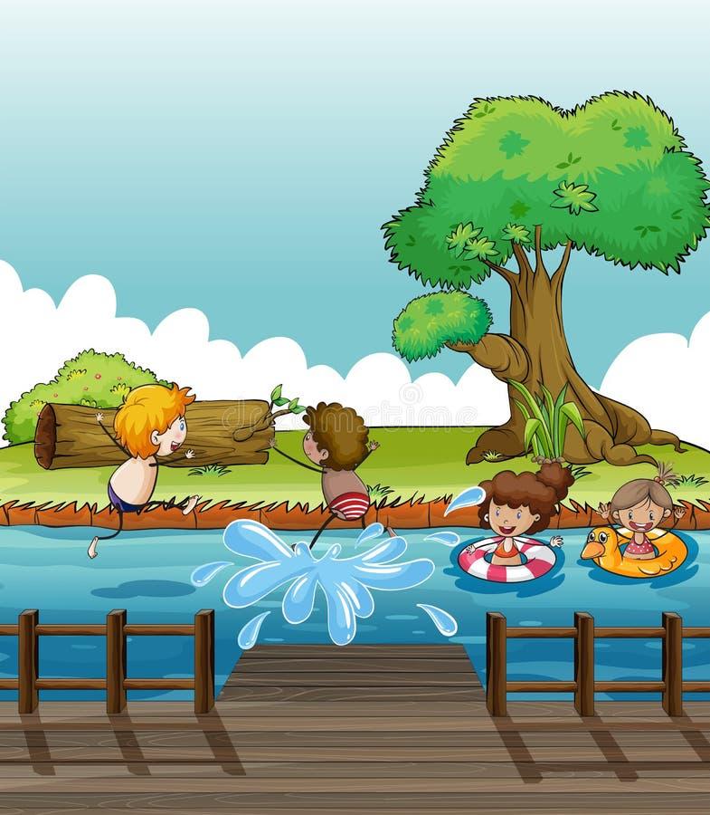 Niños que se divierten en el río stock de ilustración