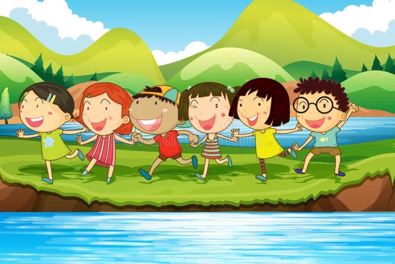 Niños que se divierten en la charca stock de ilustración