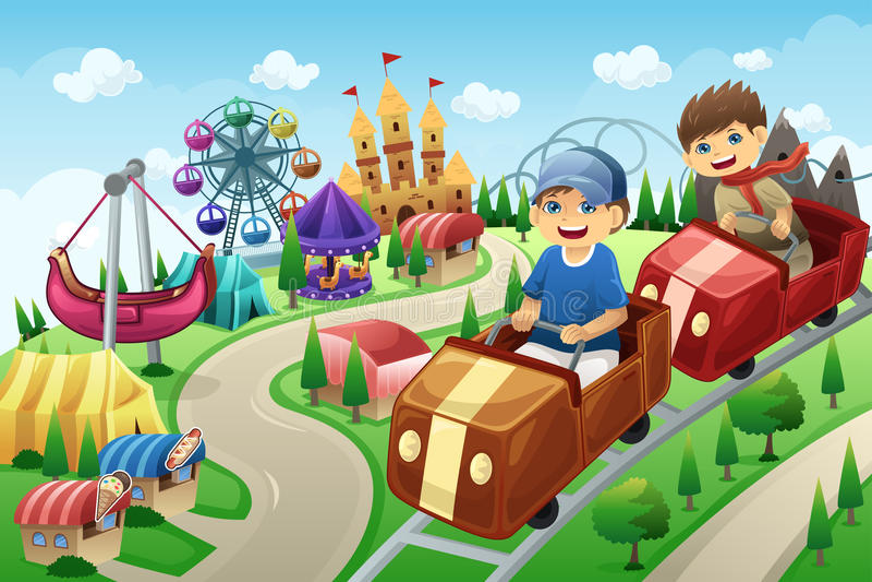 Niños que se divierten en un parque de atracciones ilustración del vector