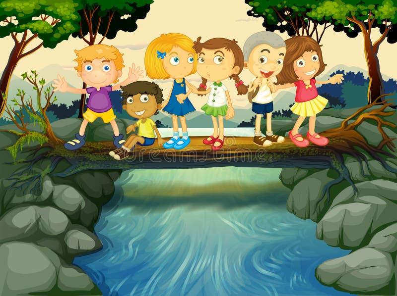 Niños que se divierten por el río libre illustration