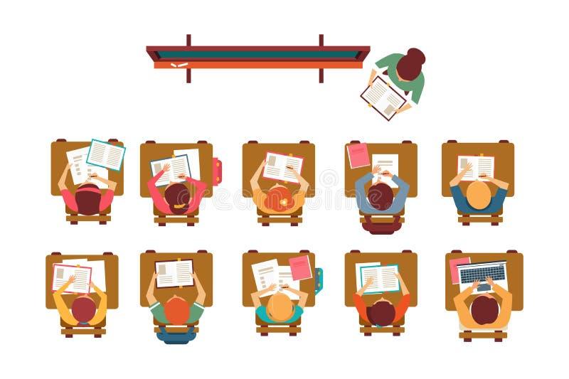 Niños que se sientan en los escritorios en la sala de clase, situación del profesor en la pizarra y dando a lección el ejemplo de ilustración del vector